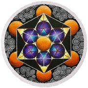 Icosahedron In A Metatron's Cube Round Beach Towel