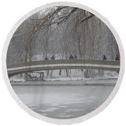 Icy Central Park Round Beach Towel