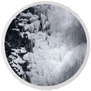 Icy Cliff - Black And White Round Beach Towel