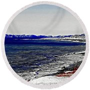 Icy Cold Seascape Digital Painting Round Beach Towel
