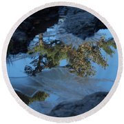 Icy Evergreen Reflection Round Beach Towel