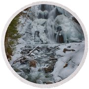 Icy Flow Of Water Round Beach Towel