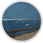 Icy Horizon Round Beach Towel