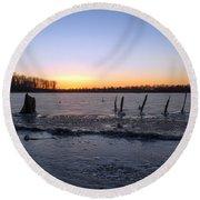 Icy Lake Sunset Round Beach Towel