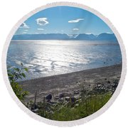 Icy-looking Kachemak Bay In Sunlight From Homer Spit-ak  Round Beach Towel