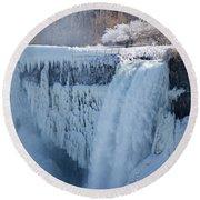 Icy Niagara Falls Round Beach Towel