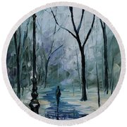 Icy Path - Palette Knife Oil Painting On Canvas By Leonid Afremov Round Beach Towel