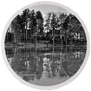 Icy Pond Reflects Round Beach Towel