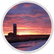 Icy River Sunset Round Beach Towel