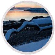 Icy Snowy Winter Sunrise On The Lake Round Beach Towel