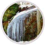 Icy Waterfall  Round Beach Towel