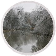 Icy Wonderland Round Beach Towel