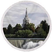 Idaho Falls Temple Round Beach Towel