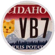 Idaho License Plate Round Beach Towel