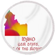 Idaho State Map Collection 2 Round Beach Towel