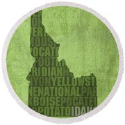 Idaho State Word Art Map On Canvas Round Beach Towel