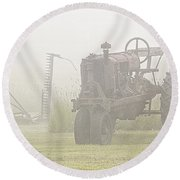 Idle Tractor In Fog Round Beach Towel