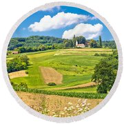 Idyllic Agricultural Landscape Panoramic View Round Beach Towel