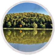 Idyllic Autumn Reflections On Lake Surface Round Beach Towel