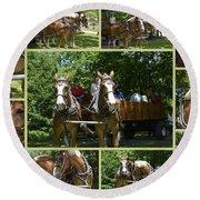 If You Love Belgian Horses Round Beach Towel