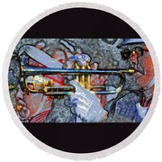 The Trumpet Player Round Beach Towel