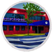 Ikaros Restaurant Baltimore Round Beach Towel