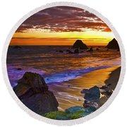 Sunset 6 Round Beach Towel
