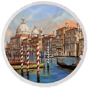 Il Canal Grande Round Beach Towel by Guido Borelli