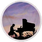 Il Pianista Round Beach Towel