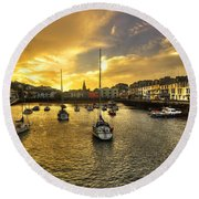Ilfracombe Harbour At Dusk  Round Beach Towel