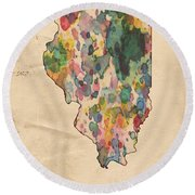 Illinois Map Vintage Watercolor Round Beach Towel