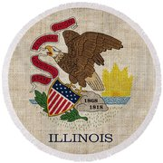 Illinois State Flag Round Beach Towel by Pixel Chimp
