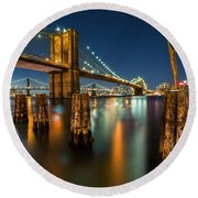 Illuminated Brooklyn Bridge By Night Round Beach Towel