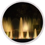 Illuminated Dancing Fountains Round Beach Towel by Sally Weigand