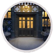 Illuminated Doorway To A Timber Framed Tudor House Or Mansion At Round Beach Towel