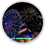 Illuminated Ferris Wheel With Neon Round Beach Towel