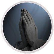 Illuminated Praying Hands Round Beach Towel