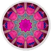 Illuminated Rose Round Beach Towel
