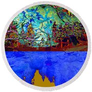 Illusion Of Lake And Forest Round Beach Towel
