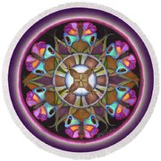 Illusion Of Self Mandala Round Beach Towel
