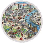 Illustrated Map Of London Round Beach Towel