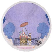 Illustration From A Book Of Fairy Tales Round Beach Towel