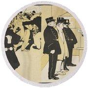 Illustration From Lassiette Au Beurre Round Beach Towel