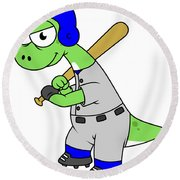 Illustration Of A Brontosaurus Baseball Round Beach Towel