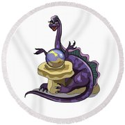 Illustration Of A Plateosaurus Fortune Round Beach Towel