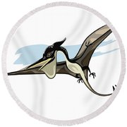 Illustration Of A Pteranodon Dinosaur Round Beach Towel