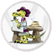 Illustration Of A Raptor Poet Thinking Round Beach Towel