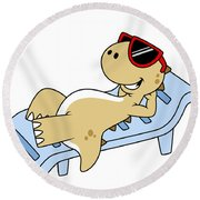 Illustration Of A Sunbathing Round Beach Towel by Stocktrek Images