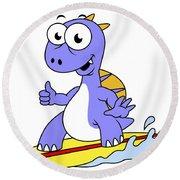 Illustration Of A Surfing Spinosaurus Round Beach Towel