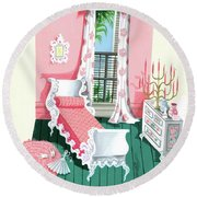 Illustration Of A Victorian Style Pink And Green Round Beach Towel